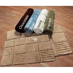Checks Collection Cotton 2-piece Bath Rug Set