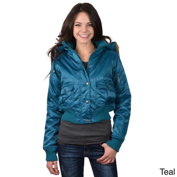Greenlander Women's Juniors Faux Fur Trimmed Hoodie Jacket