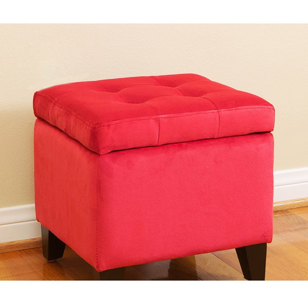 Tufted Red Microfiber Storage Ottoman