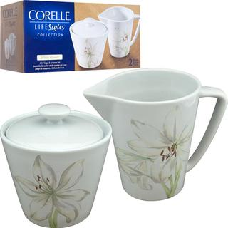Corelle LifeStyles White Flower Sugar and Creamer Set
