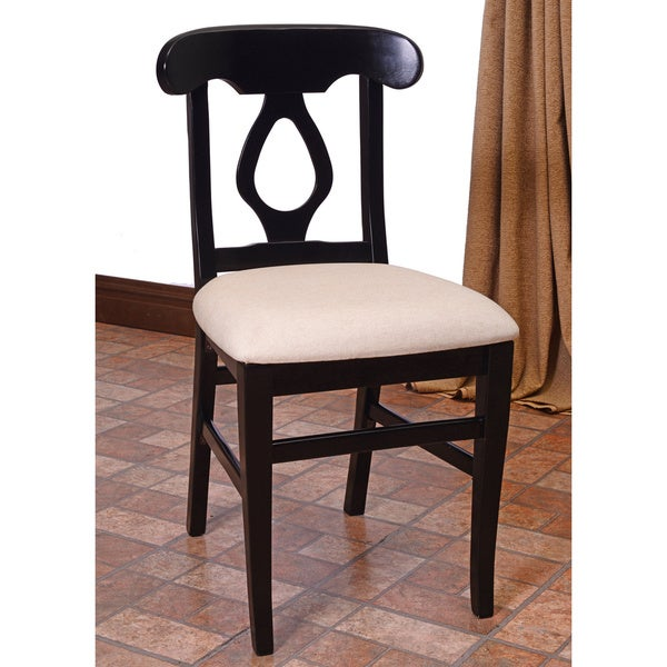 napolian cream faux leather side chairs set of 2 black finish