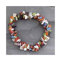 Amethyst and Citrine 'Rainbow Gems' Stretch Bracelet (India)