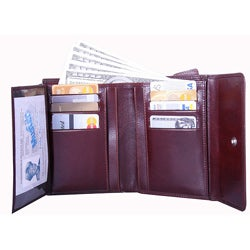 Leatherbay Women's Brown Leather Tri-fold Wallet