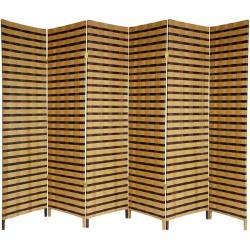 Wood and Natural Fiber 6-foot 6-panel Two-tone Room Divider (China)