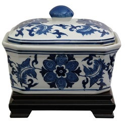 Porcelain 8-inch Blue and White Floral Covered Jar (China)