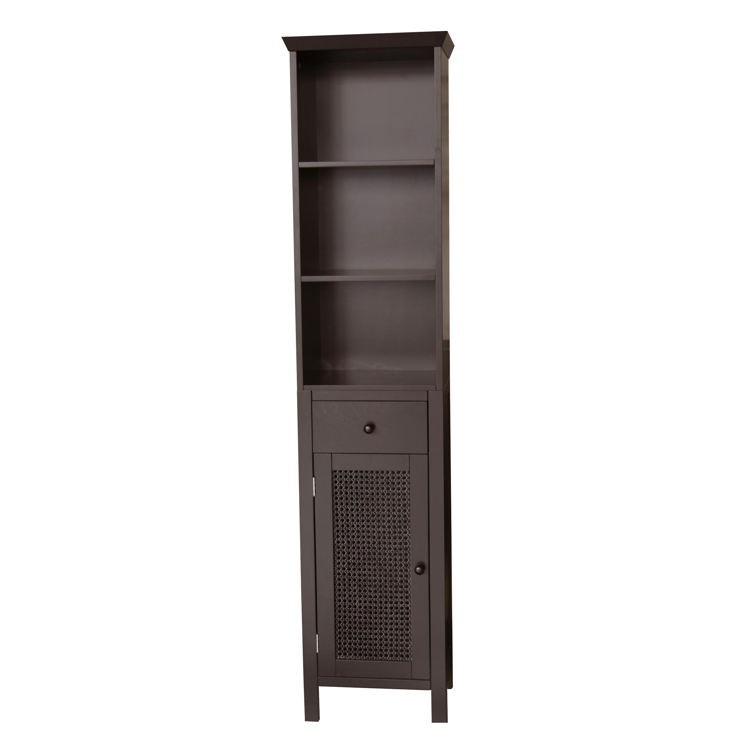 Jasper Dark Espresso Linen Organizer Cabinet