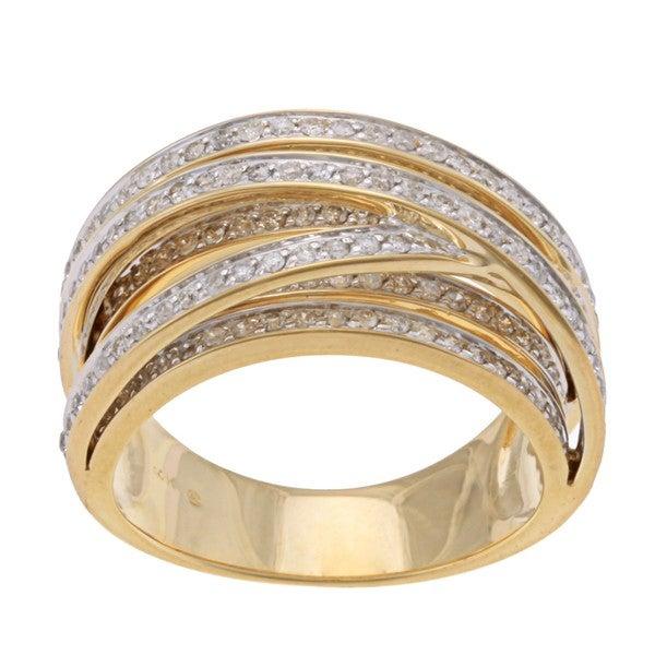 Beverly Hills Charm 14k Yellow Gold 1ct TDW Diamond Cross-over Ring (H-I, I2)