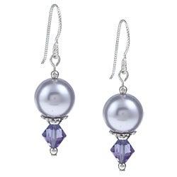 MSDjCASANOVA Argentium Silver Tanzanite AB/ Lavender Crystal Earrings