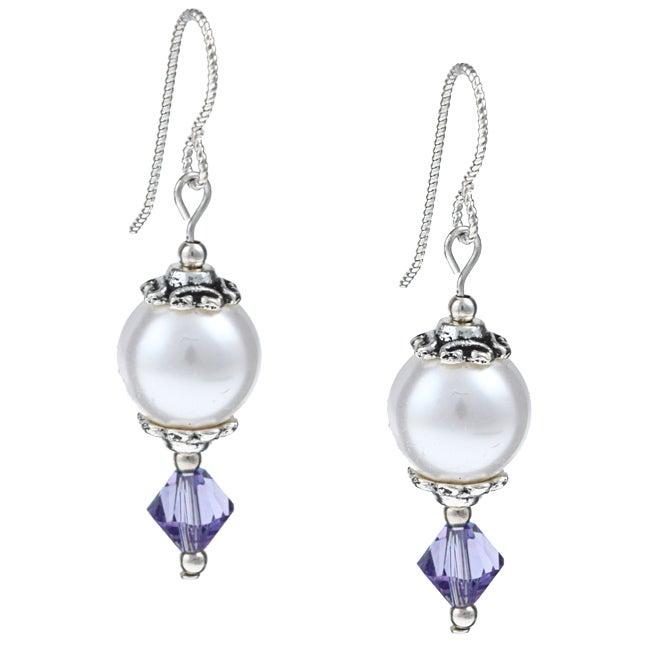 MS DJ Casanova Argentium Silver White and Tanzanite Crystal Earrings