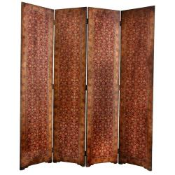 Faux Leather 6-foot Olde-Worlde Rococo Room Divider (China)