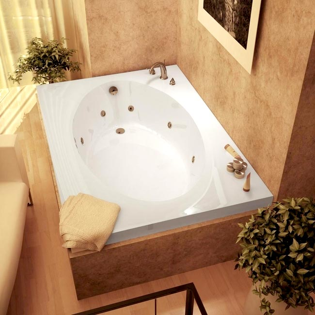 Vogue white whirlpool tub overstock shopping great for Whirlpool garden tub