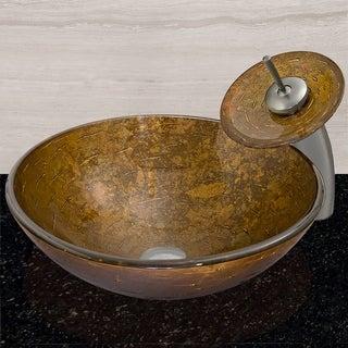 Textured Copper Glass Vessel Bathroom Sink