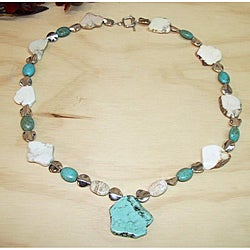Turquoise Trophy White and Blue Turquoise Necklace