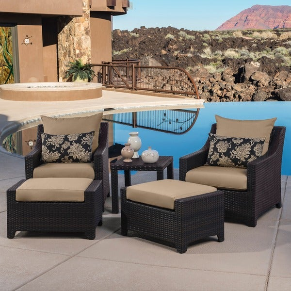RST Delano 5-piece Outdoor Chair and Ottoman with Side Table Set