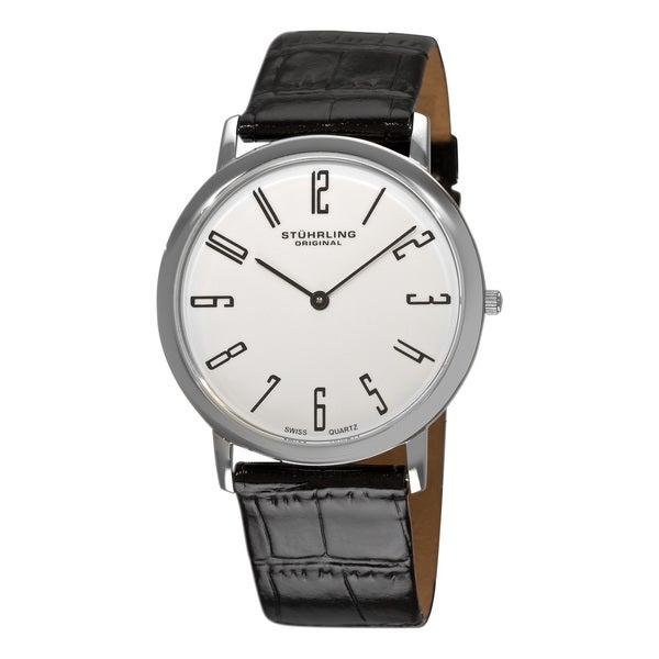 Stuhrling Original Men's White 'Belmont' Ultra Slim Watch