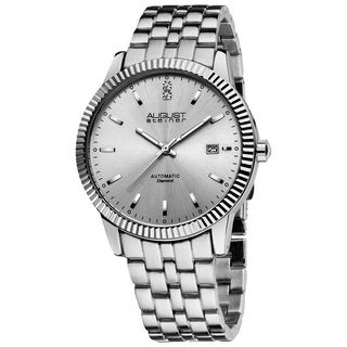 August Steiner Men's 'Diamond' Silver-Tone Automatic Watch
