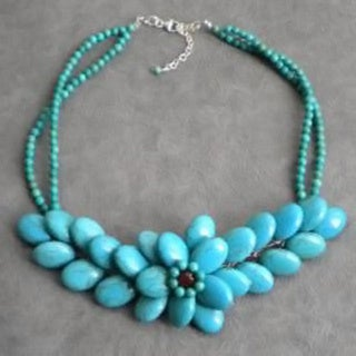 Silver Blue Turquoise and Red Crystal Floral Necklace (Thailand)