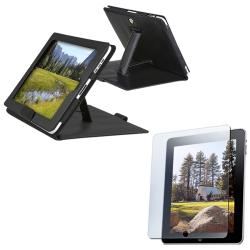 INSTEN Black Leather Tablet Case Cover with Screen Protector for Apple iPad