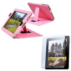 INSTEN Pink Leather Tablet Case Cover with Anti-glare Screen Protector for Apple iPad