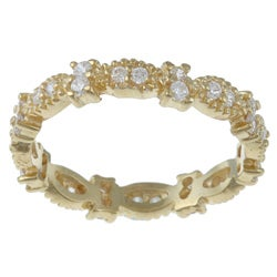 Celeste Gold over Silver Stackable Clear Cubic Zirconia Micro-Pave Stack Ring