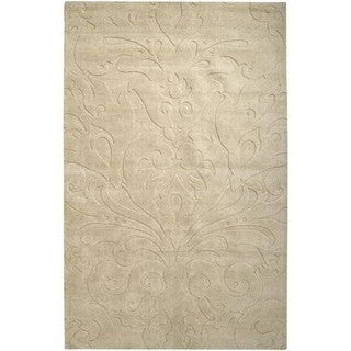 Candice Olson Loomed Beige Damask Pattern Wool Rug (5' x 8')