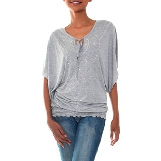 Rayon 'Gray Butterfly' Blouse (Indonesia)