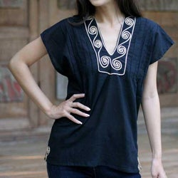 Cotton 'Ebony Melody' Blouse (Thailand)