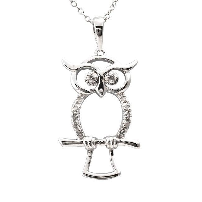 Sterling Silver 1/10ct TDW Diamond Owl Critter Necklace (J-K, I3)