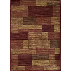 Power-loomed Illusion Red Bricks Rug (7'10 x 9'10)