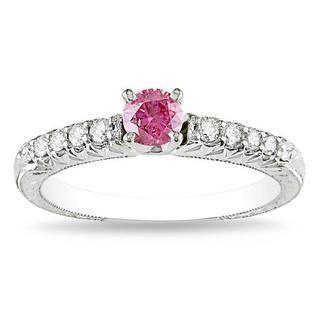 Miadora 14k White Gold 1/2ct TDW Pink-and-white Prong-set Diamond Ring (G-H, I1-I2)