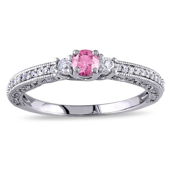 Miadora 14K White Gold 1/2ct Pink-and-white Round Diamond Ring (G-H, I1-I2)