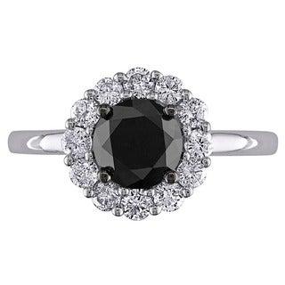 Miadora 14k White Gold 1 1/2ct TDW Black and White Diamond Halo Ring (G-H, I2-I3)