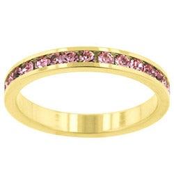 Kate Bissett Goldtone Pink Crystal Eternity Fashion Ring