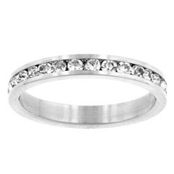 Kate Bissett Silvertone Clear Crystal Eternity Fashion Ring