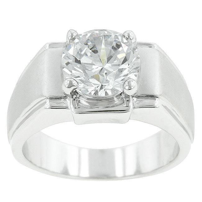 Kate Bissett Silvertone Men's Solitaire Cubic Zirconia Ring