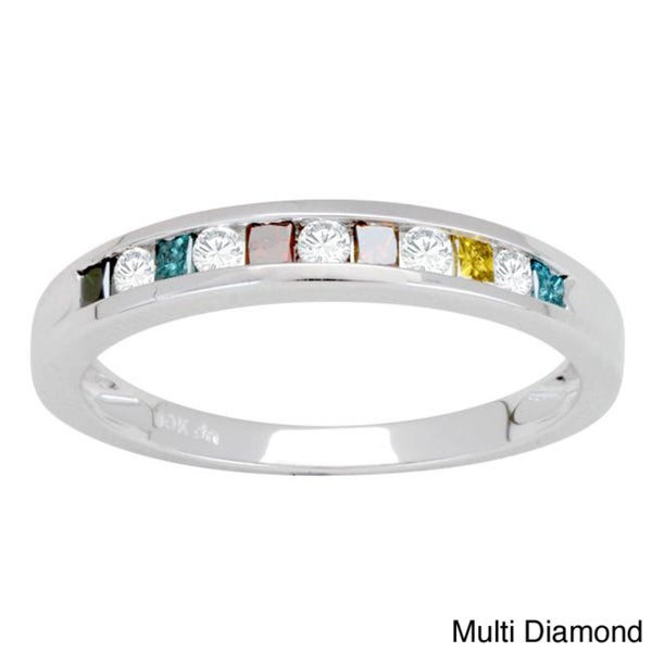 10k White Gold 1/4ct TDW Yellow Diamond Band (H-I, I3)