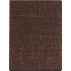 Hand-tufted Mandara New Zealand Brown Wool Rug (9' x 13')