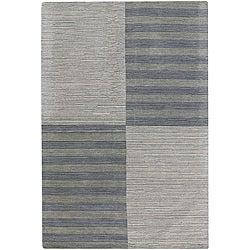 Hand-tufted Mandara Geometric Grey New Zealand Wool Rug (7' x 10')