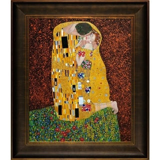 Gustav Klimt 'The Kiss (Full view)' Framed Canvas Art