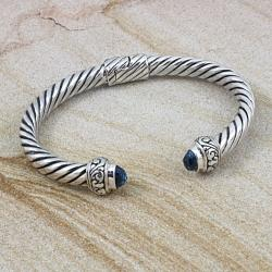 Sterling Silver Hinged Flat Rope Blue Topaz Cuff Bracelet (Indonesia)