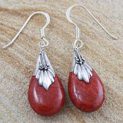 Sterling Silver Coral Bali Teardrop Dangle Earrings (Indonesia)