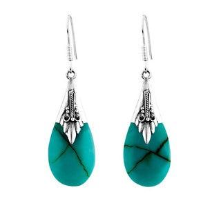 Sterling Silver Turquoise Bali Teardrop Dangle Earrings (Indonesia)