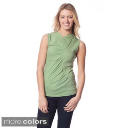 AtoZ Women's Gathered Sleeveless Pullover V-Neck Top
