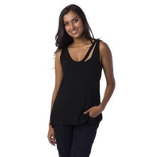 AtoZ Women's Cutout V-neck Tank Top