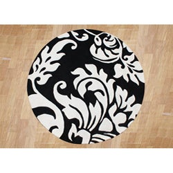 Alliyah Handmade Quill Feather Black/ White New Zealand Blend Wool Rug (6' Round)