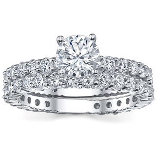 18k White Gold 3 5/8ct TDW Diamond Bridal Ring Set (G-H, SI1-SI2)