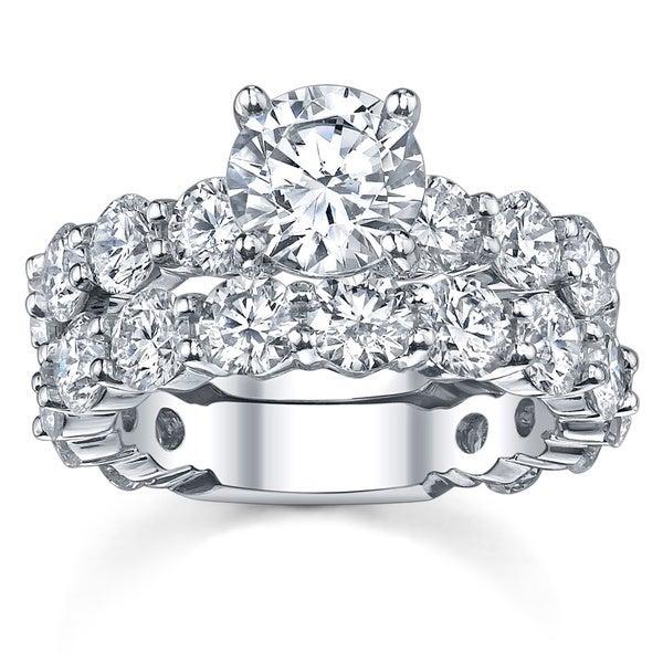 14k White Gold 4 2/5ct TDW Diamond Bridal Ring Set (G-H, SI1-SI2)