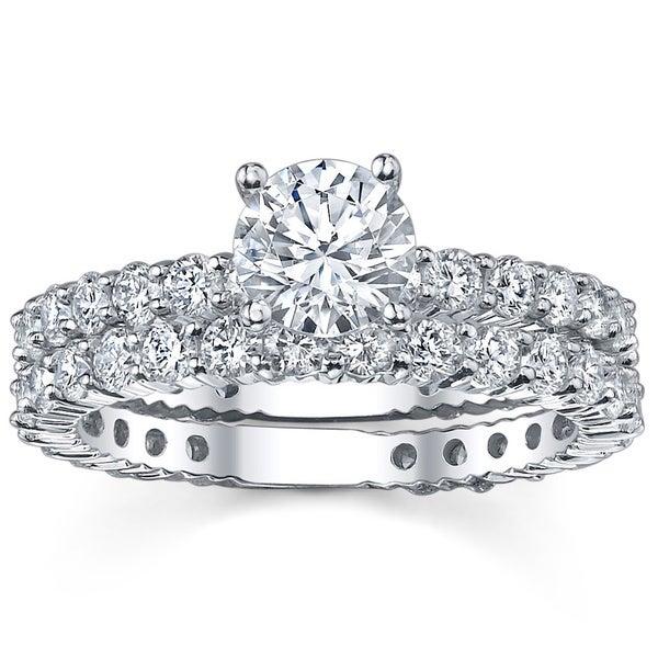 14k White Gold 2 1/3ct TDW Diamond Bridal Ring Set (G-H, SI1-SI2)