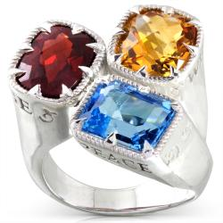 Annello Sterling Silver Garnet, Citrine and Blue Topaz Ring