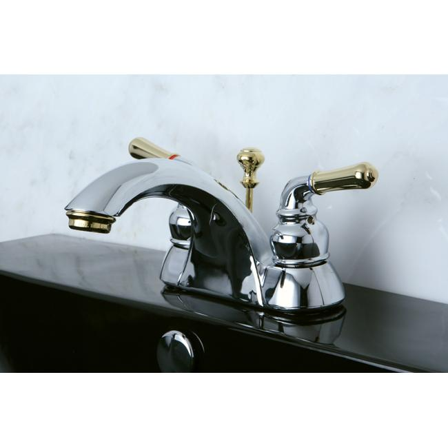 Two tone chrome and brass bathroom faucet overstock shopping great deals on bathroom faucets for Gold and chrome bathroom faucets